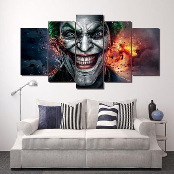 5 Pcs Batman Movie Joker Comics 5Pcs Panel Canvas Wall Art Print Picture Poster