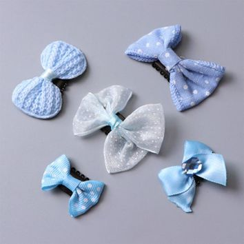 5Pcs/Set Fashion Cute Small Hair Bows Safety Hair Clips For Girls Flowers Headbands Kids Hair Ornament Hairpins Hair Accessories