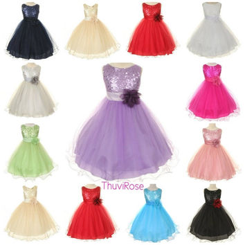 summer baby girls dress long flower girl dresses for weddings party dress Sequin Princess Dress LP-55 = 1932824900