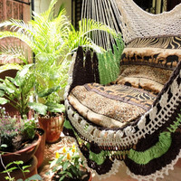 Beige Brown Light Green Tricolor Sitting Hammock, Hanging Chair Natural Cotton and Wood plus Simple Fringe