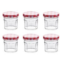 Canning Jars with Red Plaid Lids