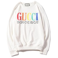 GUCCI 2018 autumn rainbow letter printing round neck pullover sweater White
