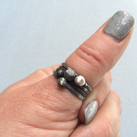 Oxidized Sterling Silver Bauble Stacking Rings Handmade Jewelry Stack Ring