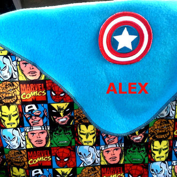 Deluxe Captain America Inspired Fleece Baby/Kids Blanket -  Super Hero - Personalized