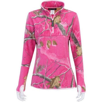 RealTree Ladies Half Zip Micro Fleece, Realtree APC Dark Pink, Large