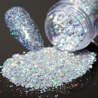 1 Box 10g Holo Laser Glitters Nail Sequins Shining Silver Hexagon Nail Dust Tips Manicure Nail Art Decorations
