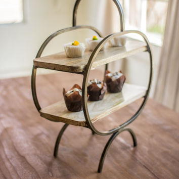Two Tier Mango Wood & Iron Serving Stand