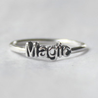 Magic Ring , Sterling silver stacking ring with Poetic words