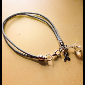 Grey Awareness Leather Bracelet - Brain Cancer-Parkinson-Asthma-Personality Disorder-Diabetes-Friendship-Charm Bracelet