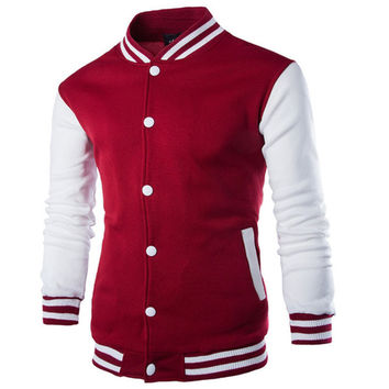 Fashion 2016 Patchwork Polo Jakcets Red White Blue Casual Coat For Man Stand Collar College Baseball Jacket Men Veste Homme