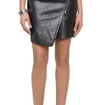 Just Female Came Leather Skirt