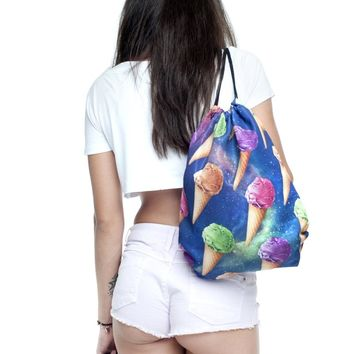 Space Rainbow Ice Cream Cone Collage Blue Drawstring Bag Backpack