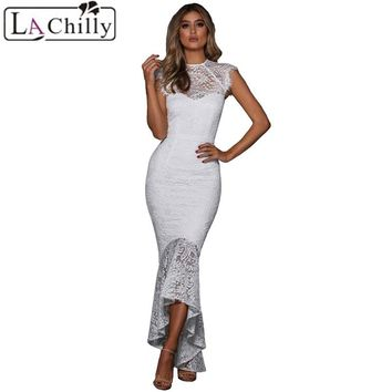 La Chilly 2018 Lange Jurken Womens Dresses Black/White Lace Overlay Embroidery Mermaid Dress Vestido Largo Verano Mujer LC610430
