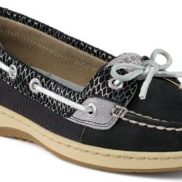 Sperry Top-Sider Angelfish Fishscale Slip-On Boat Shoe Black, Size 7.5M  Women's Shoes