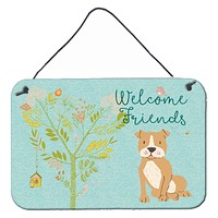 Welcome Friends Brown Staffie Wall or Door Hanging Prints BB7624DS812