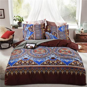 Bohemian Bedding Set 4pcs With Duvet Cover Bed Sheet Pillowcase Cotton Boho Mandala Bed Linen Set King Queen Twin Size