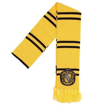 Harry Potter Hufflepuff Crest Licensed Striped Jacquard Soccer Scarf - Yellow