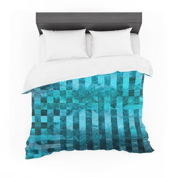 """Suzanne Carter """"Mosaic Ocean"""" Blue Teal Pattern Featherweight Duvet Cover"""