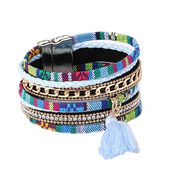 Fashion Ethnic Tassel Bracelet Wide Magnetic Leather Bracelets & Bangles Multi Layer Bracelets Jewelry For Women Gift