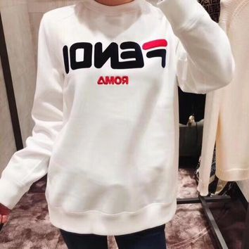 """Fendi"" Women Simple Casual Embroidery Letter Long Sleeve Sweater Pullover Tops"