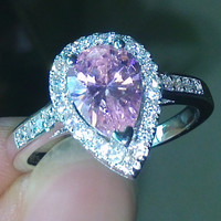 size 5-10 pear cut Engagement luxury Jewellery pink sapphire 925 sterling silver filled Wedding Diamonique simulated Diamond Ring set gift