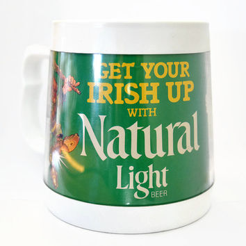 Vintage Thermo Mug Get Your Irish With Natural Light Beer Leprechaun, Retro Beer Mug, Irish Beer Mug, St Patrick Day Mug, Retro Irish Thermo