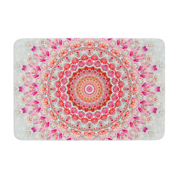 "Iris Lehnhardt ""Summer Lace III"" Circle Pink Green Memory Foam Bath Mat"