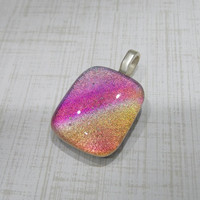 Colorful Dichroic Pendant, Pink, Gold, Purple, Orange, Rainbow  Dichroic, Fused Glass Jewelry - Alexa - -5