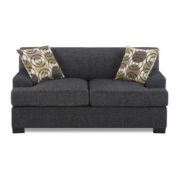 Modish Wooden Faux Linen Loveseat with 2 Accent Pillows Black