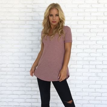 Kate Cotton Tee Top in Mauve