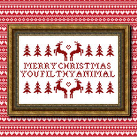 Merry Christmas You Filthy Animal cross stitch PDF pattern