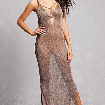 Sheer Metallic Knit Maxi Dress