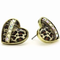 "Betsey Johnson ""Status"" Leopard Heart Stud Earrings"