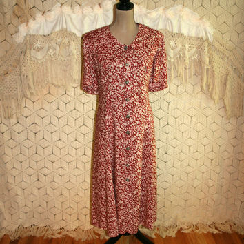 Vintage Plus Size Dress 90s Day Dress Rayon Button Up Red Floral Tea Length Soft Grunge Short Sleeve Sailor Collar Size 20 2X Women Clothing