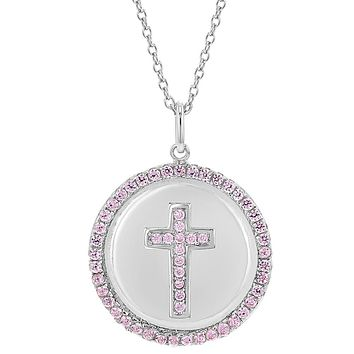 925 Sterling Silver Cross Cubic Zirconia Medal Bezel Pendant Necklace for Girls 16""