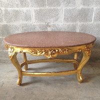 Antique Italian Baroque Coffee Table Brown Marble Top Gold Leaf Gild Refinished Heavy Carvings Rococo Louis XVI
