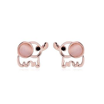 Gold Plated Elephant Eye Stone Stud Earrings