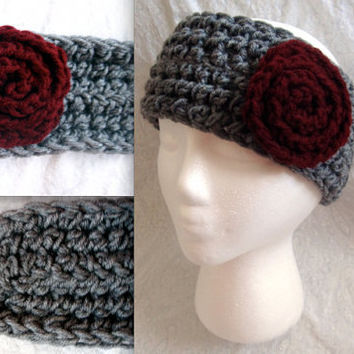Crochet medium grey Headband Ear warmer Headwrap with maroon bow or flower