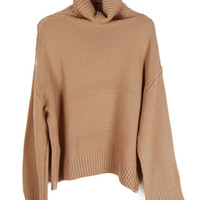 Camel Roll Neck Casual Cable Sweater