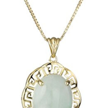 """18k Yellow Gold Over Sterling Silver Green Jade Greek Key Pendant Necklace, 18"""""""
