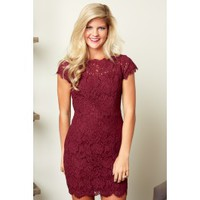 Champagne Campaign Burgundy Lace Dress