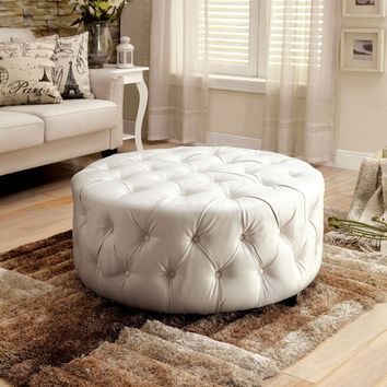 Latoya collection white bonded leather tufted round ottoman foot stool