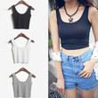 Crop Top 2015 New Fashion Women's Solid Color Skinny O-Neck Short Sport Dance Tight Tank Tops Colete Feminino