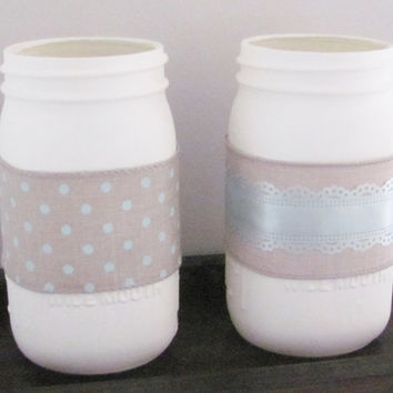 Mason Jars, Shabby Chic Decor, Distressed Painted Jars, Set of 2 Jars, Rustic Decor, Baby Shower Decor Set, Country, Farmhouse Set