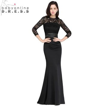 Sexy Lace Black Mermaid Long Evening Dress 2018 Eleagnt Cheap Three Quarter Evening Party Dresses Robe de Soiree Longue