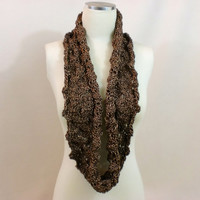 Brown Shimmer Infinity Scarf Circle Mobius Lace Cowl Chocolate Endless Fancy Elegant Knit