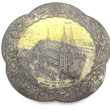 St Anne de Beaupre Souvenir Dish - Metal Ashtray