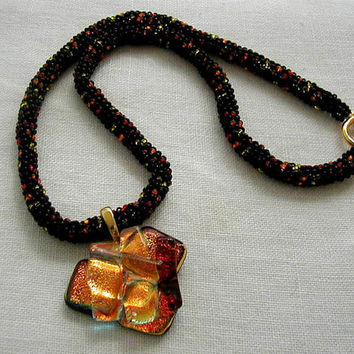 Dichoric Leaf Pendant Autumn Colors Beaded Rope Necklace~Dichroic Glass Necklace~Autumn Leaf Necklace~Spiral Rope Necklace~Autumn Colors