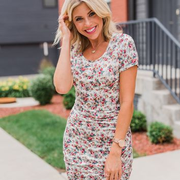 Floral Take Me Away Short Sleeve Dress- Off White