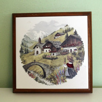 Vintage Mainzu Spain Ceramic Tile Spanish, Collectible, Handmade, Painting Tile, Country Scene, Village, Wall Decor